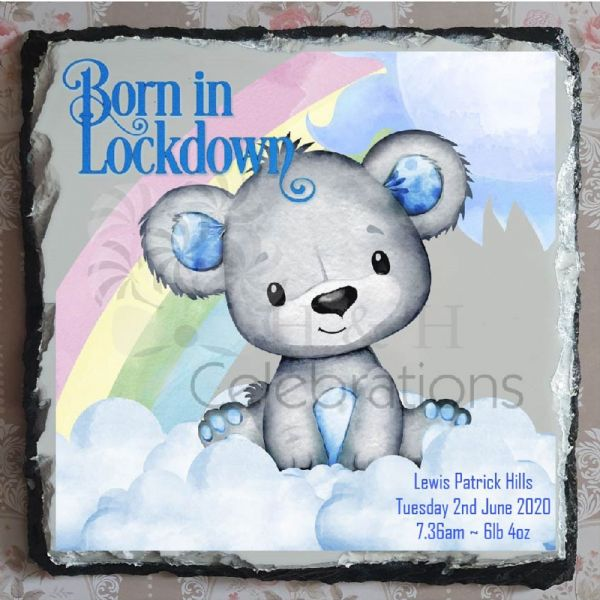 Born In Lockdown Rainbow Bear New Baby Boy Stats Rock Slate - Blue